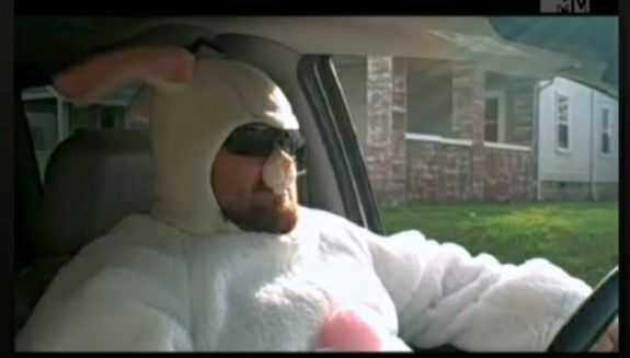 You know you're a boss when you drive through town dressed as the Easter Bunny...