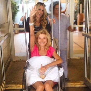 Diem is shown leaving the hospital on Friday.