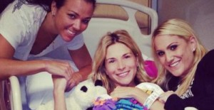 Diem with her friends during her hospital stay last month.